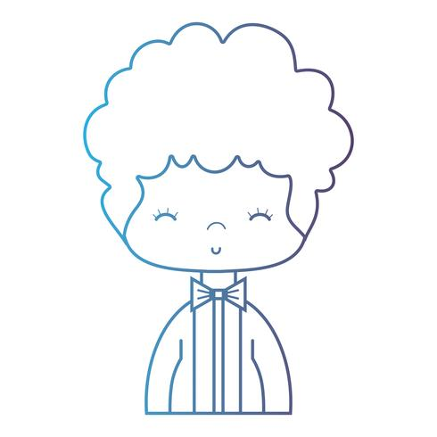 linje snygg pojke med elegant kostym och frisyrdesign vektor