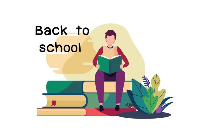 Willkommen zurück in der Schule. Flacher Karikaturillustrationsvektor vektor
