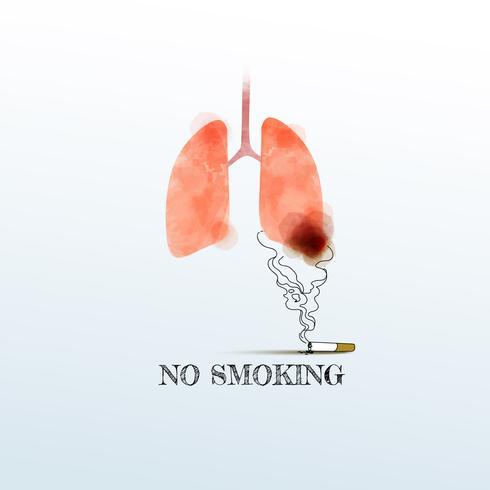 Akvarell lungor med rökning, Rökning förbjuden. Lungcancer, vektor illustration.