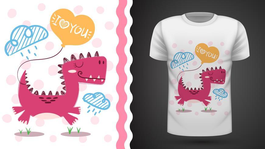 Gullig dino - idé för tryckt-shirt. vektor