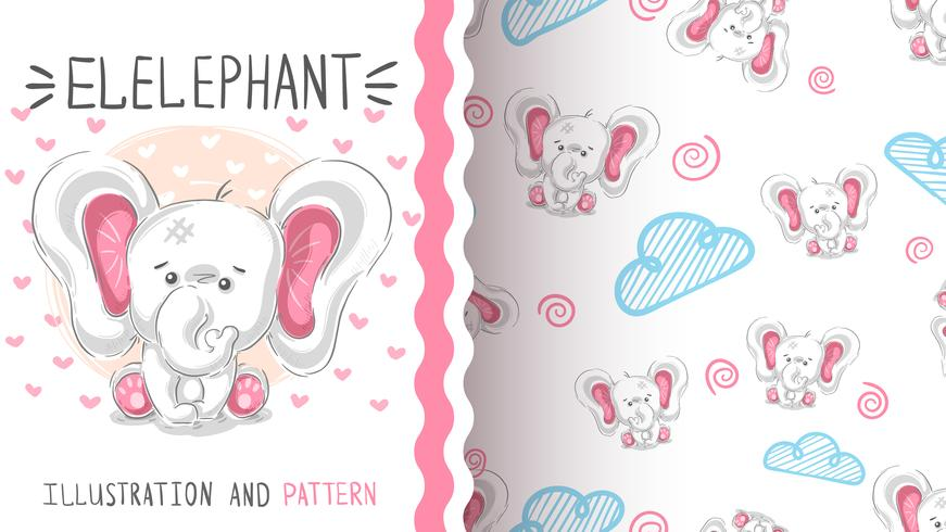 Gullig teddyelefant - sömlöst mönster vektor