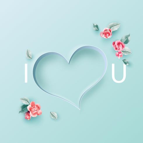 Kärlek koncept, Alla hjärtans dag bakgrund. Blomram. Vektor illustration. Bakgrund, inbjudan, affischer,
