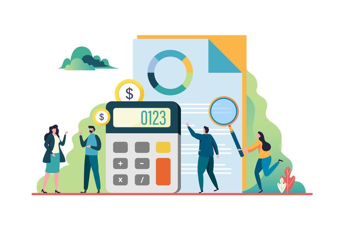 Finanzprüfung. Beratertreffen. Unternehmenskonzept. Vektor-Illustration. vektor