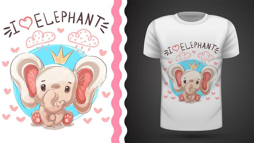 Elefantprinsessan - idé för tryckt-skjorta. vektor