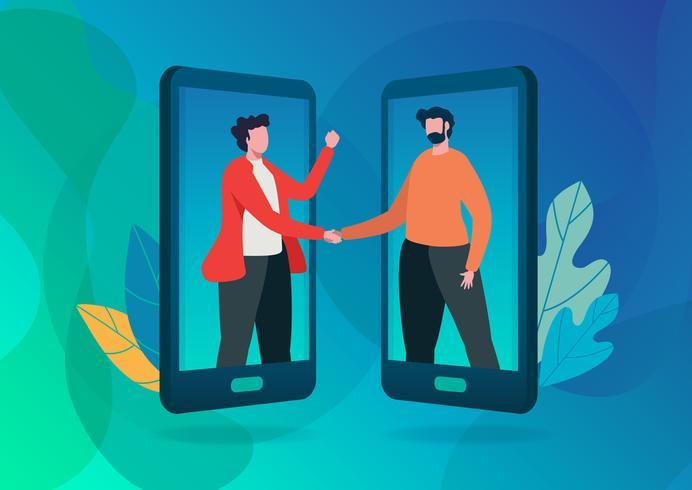 Hänvisa till en vän. Online kommunikation. vektor illustration.