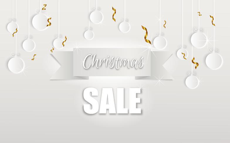 God Jul och Gott Nytt År. Julförsäljning. Semester bakgrund. papper hantverk stil vektor