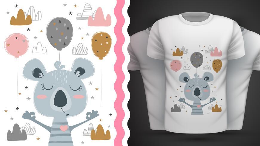 Gullig coala - för tryckt t-shirt vektor