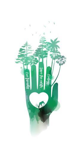 Dubbel exponerings illustration. Mänskliga händer som håller miljö symbol med akvarell. Konceptillustration för miljövård eller hjälpprojekt. Digital konstmålning. Vektor illustration.
