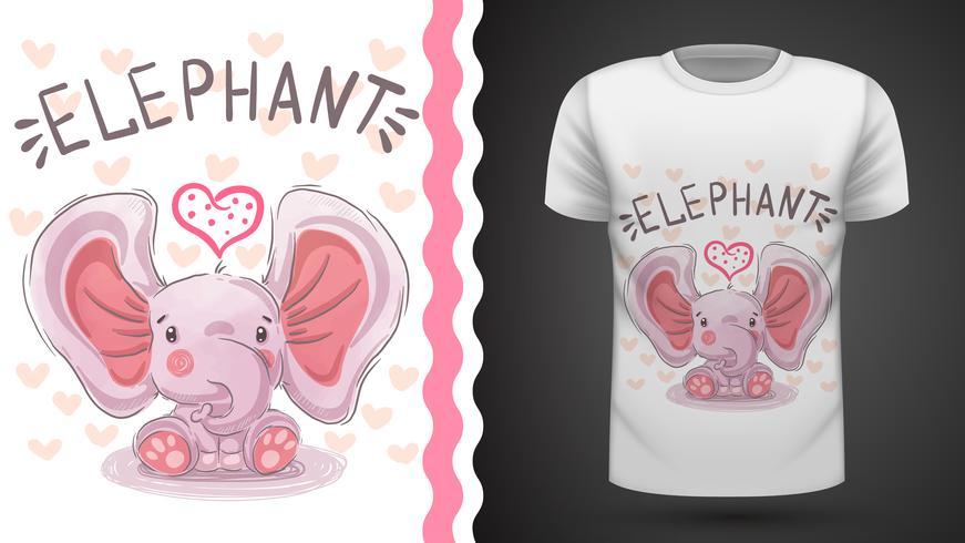 Teddy elefant - idé för tryckt t-shirt vektor