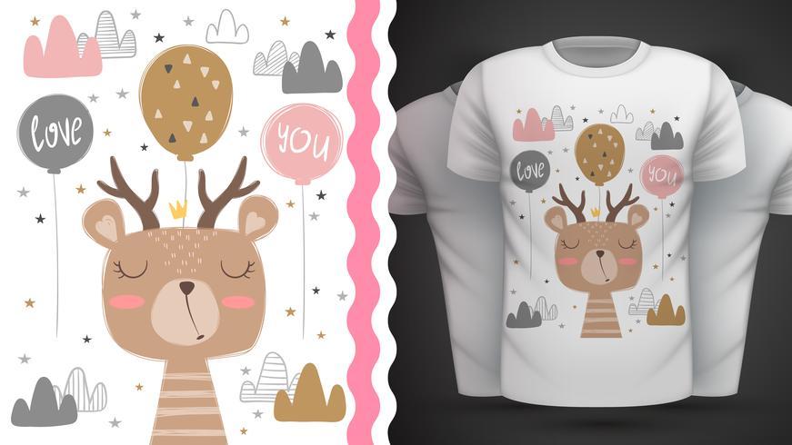 Gullig björn - idé för tryckt-shirt. vektor