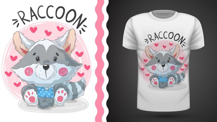 Gullig nalle tvättbjörn - idé för tryckt-shirt. vektor