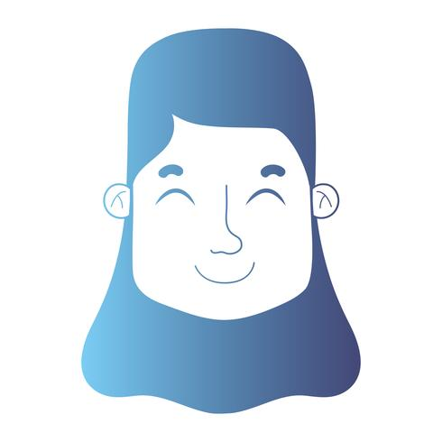 Linie Avatar Frauenkopf mit Frisur vektor