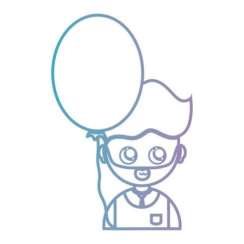 linje man med frisyr och ballong design vektor