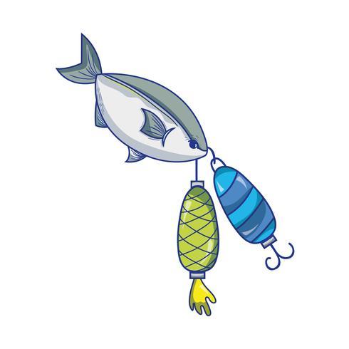 Fisch, der Spinnergegenstand beißt, um ihn zu fangen vektor