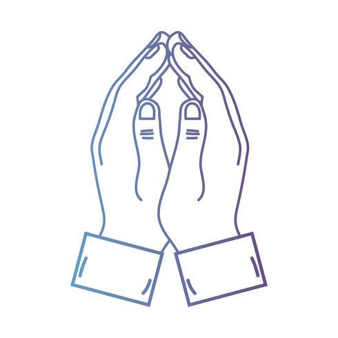 linje person händer ihop med fingrarna vektor