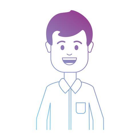 Linie Mann mit Frisur und Shirt-Design vektor