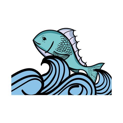 fiskdjur i havet med vågdesign vektor