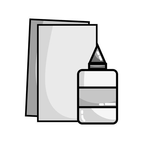 Graustufenkleber und Papp-Schulutensilien für die Ausbildung vektor