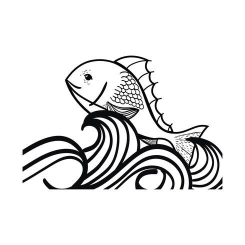 linje fisk djur i havet med våg design vektor
