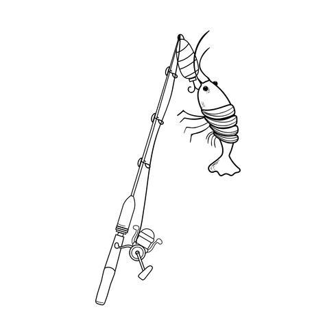 Schnurspinnrolle fangen das Hummerfutter vektor