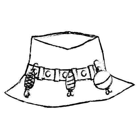 Figur Fischer Bauernhut Objekt, zu warker vektor