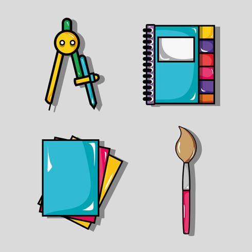 Ställ in skolverktygsdesign för att studera och lära vektor