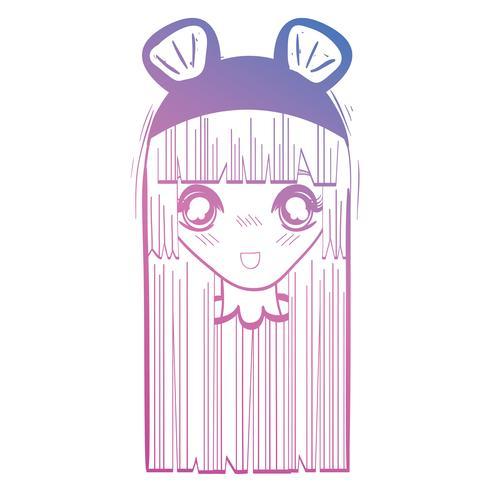 Linie Anime Mädchenkopf mit custome und Frisur vektor