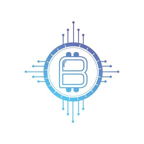 Line-Bitcoin-Schild mit elektronischen Schaltkreisen vektor