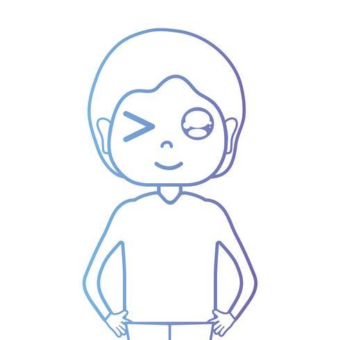 linjeman med frisyr och t-shirt vektor