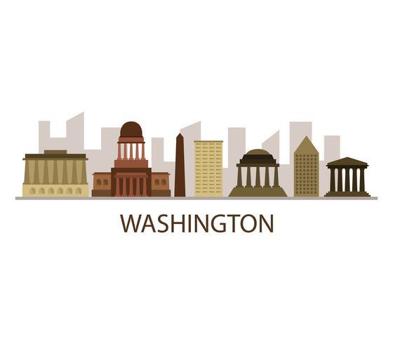 Washington skyline på en vit bakgrund vektor