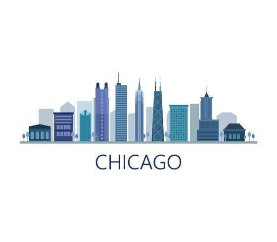 Chicago-Skyline auf weißem Hintergrund vektor