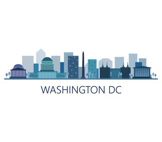Washington-Skyline auf einem weißen Hintergrund vektor