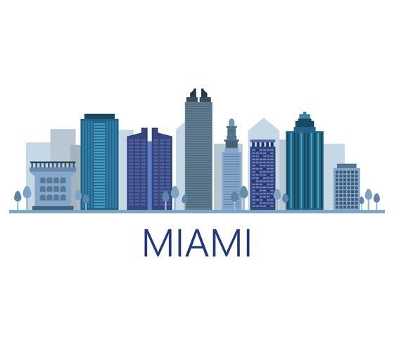 Miami skyline på en vit bakgrund vektor
