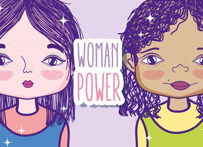 Frauenpower-Mädchenkarikatur vektor