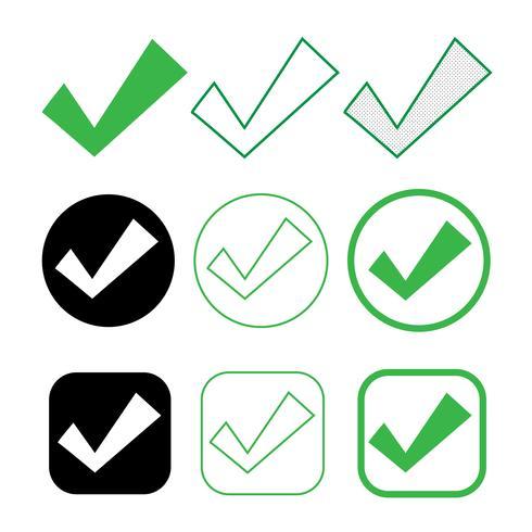 Einfaches Häkchen-Symbol akzeptieren genehmigen Zeichen vektor