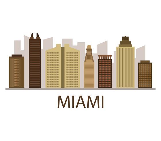 Miami-Skyline auf einem weißen Hintergrund vektor