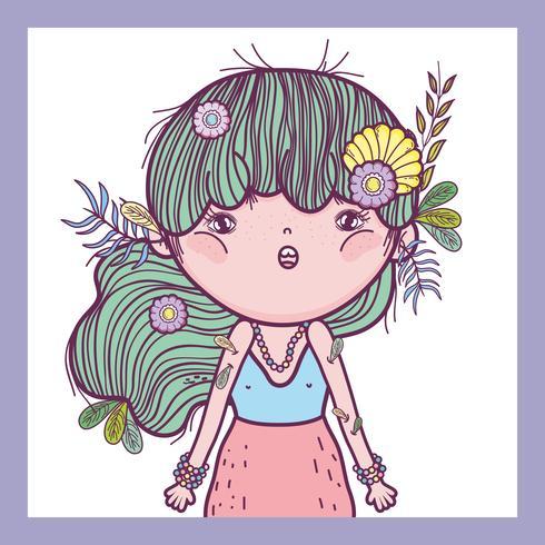 Mädchen Verteidiger der Kreaturen mit Blüten und Blättern vektor
