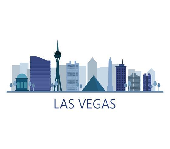 Las Vegas-Skyline auf weißem Hintergrund vektor