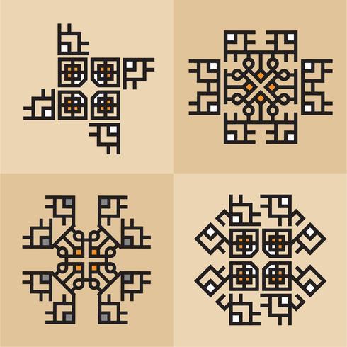 Lyxiga japanska, kalligrafiska, Aztec eleganta prydnadslinjer vektor