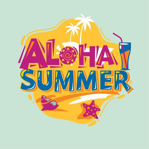 Aloha Sommer. Sommerferien. Sommer-Zitat vektor