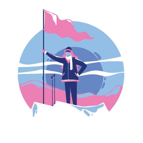 Kvinna med flagga som står ovanpå bergstoppen vektor