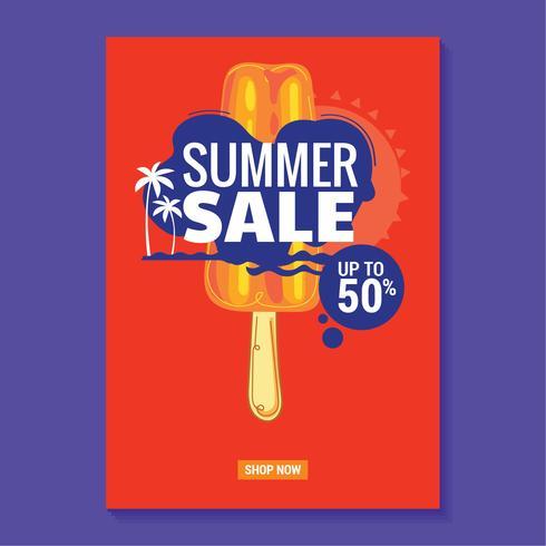 Sommerschlussverkauf-Illustration mit Strand und tropischem Blatt-Hintergrund. Groß für Verkaufsplakat vektor