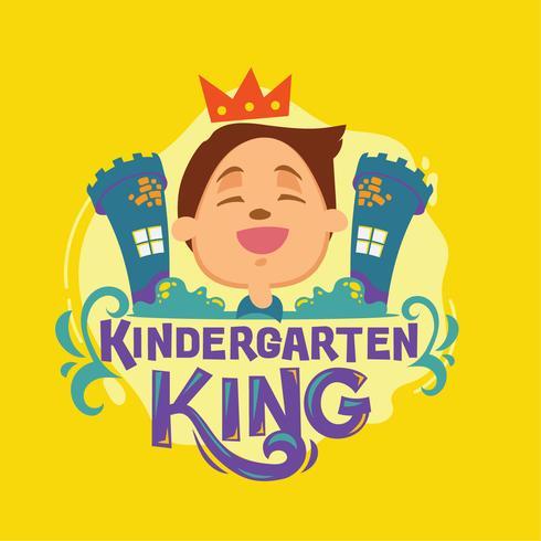 Kindergarten-König Phrase Illustration.Back to School Quote vektor