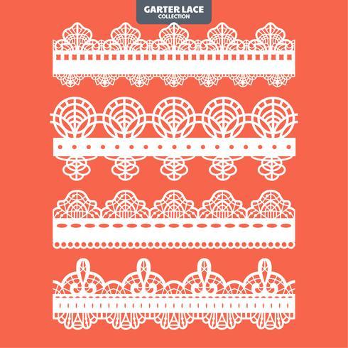 Set Garter Lace Ornament zum Sticken, Schneiden von Aufklebern und Laserschneiden vektor