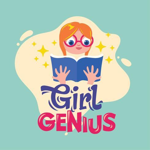 flicka genius frasen illustration.back till skolan citat vektor