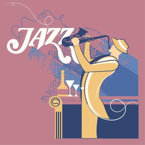 Fantasy Saxophonist Spela Saxofon för Musik Jazz vektor