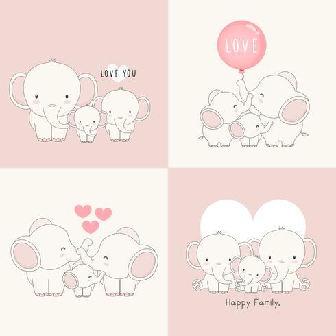 Söt elefantfamilj med en liten elefant i mitten. vektor