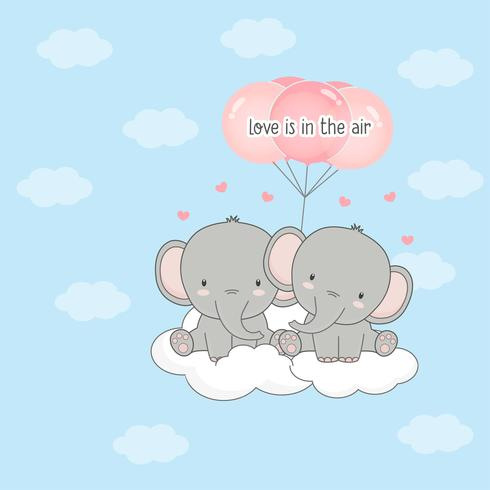Söt par elefant med ballonger. Alla hjärtans dagkort. vektor