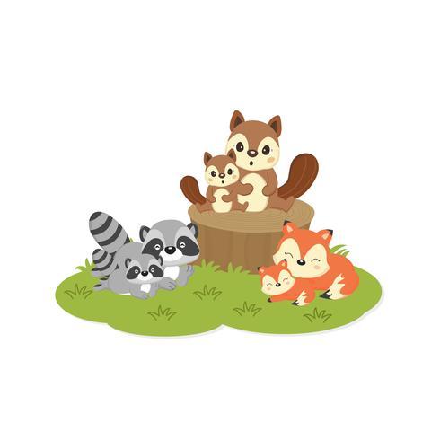 Nette Familienwaldtiere. Füchse, Waschbären, Eichhörnchen Cartoon. vektor