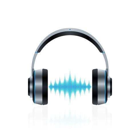 Realistische Kopfhörer mit Schallwellen vektor